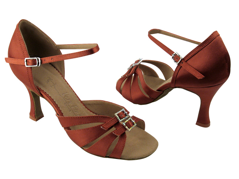 Ladies' Latin, Rhythm & Salsa - Very Fine Salsera - SERA1131 - Dark Tan Satin