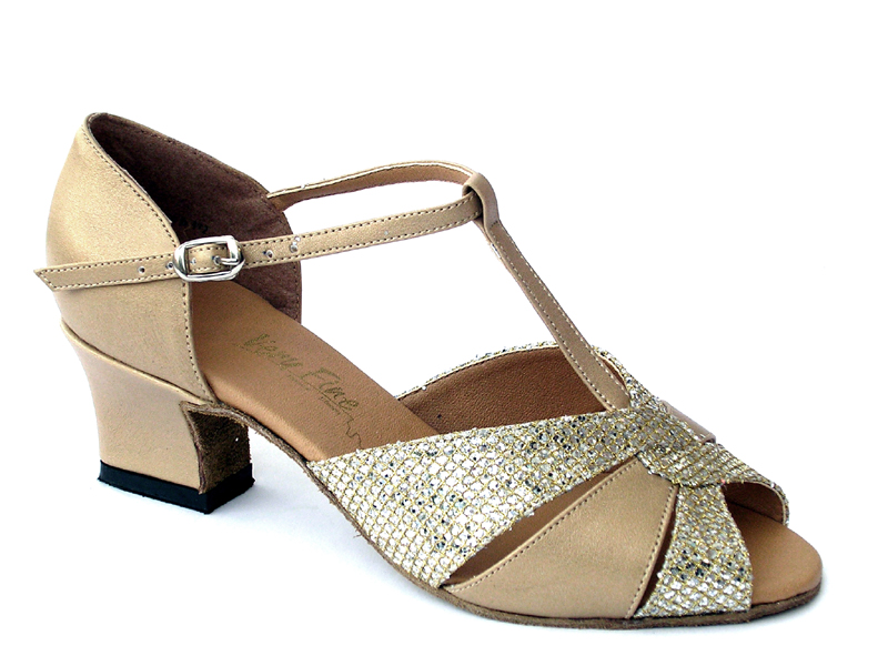 Ladies' Practice & Cuban heel - Very Fine Classic - 6006 - Gold Leather & Gold Sparklenet