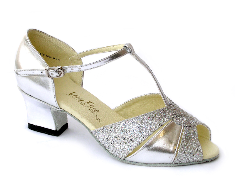 Ladies' Practice & Cuban heel - Very Fine Classic - 6006 - Silver Leather & Silver Sparklenet