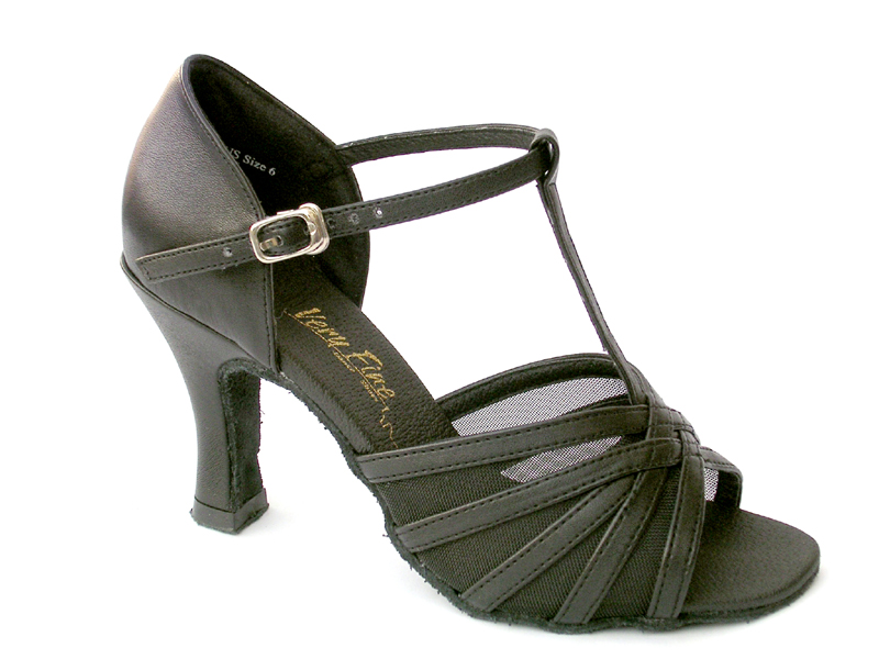 Ladies' Latin, Rhythm & Salsa - Very Fine Classic   - 16612 - Black Leather & Black Mesh