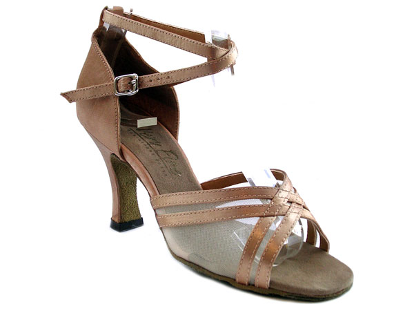 Ladies' Latin, Rhythm & Salsa - Very Fine Classic   - 5017 - Brown Satin & Flesh Mesh