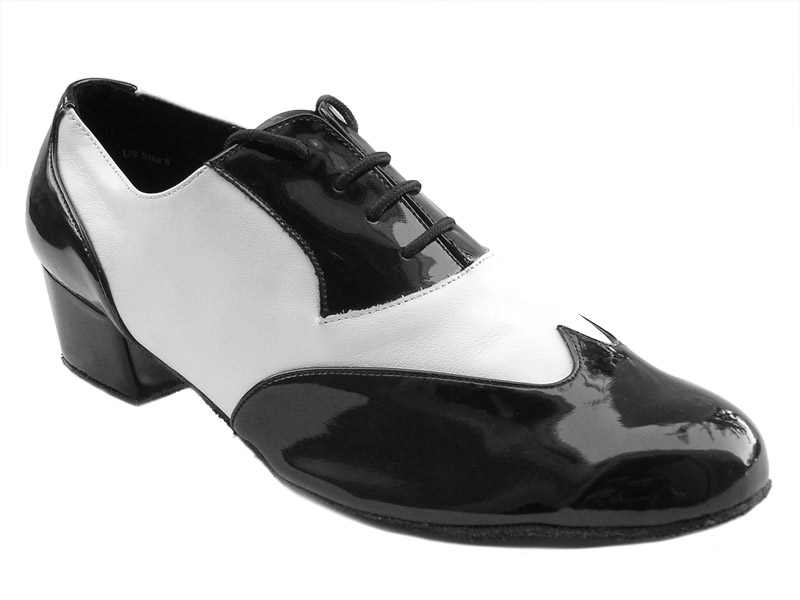 Men's Latin & Rhythm - Very Fine Classic - M100101 - Black Patent & White Leather