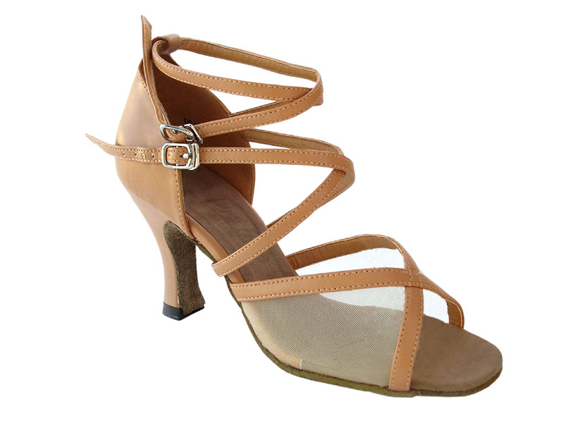 Ladies' Latin, Rhythm & Salsa - Very Fine Classic   - 1630 - Beige Brown Leather & Flesh Mesh