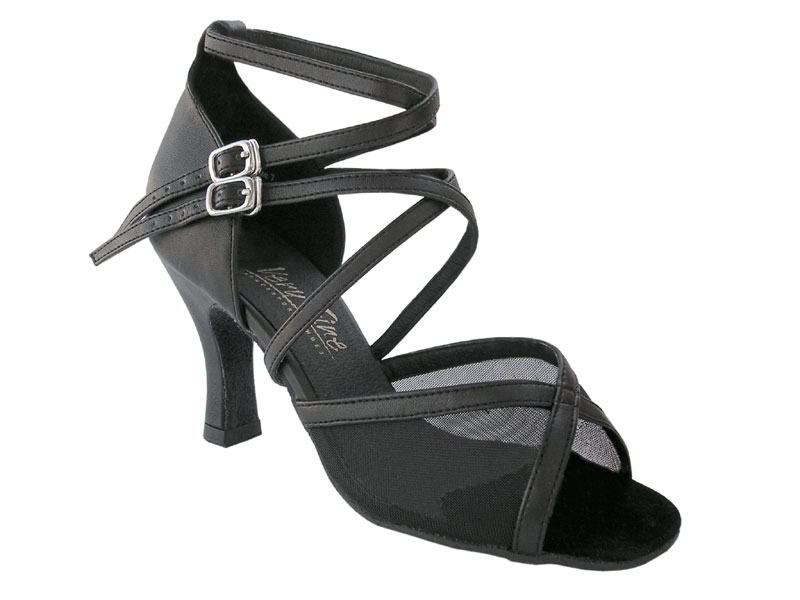 Ladies' Latin, Rhythm & Salsa - Very Fine Classic   - 1630 - Black Leather & Black Mesh