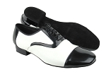 C916102 Black Patent & White Leather