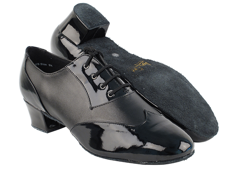 M100101 Black Patent & Black Leather & Latin Heel