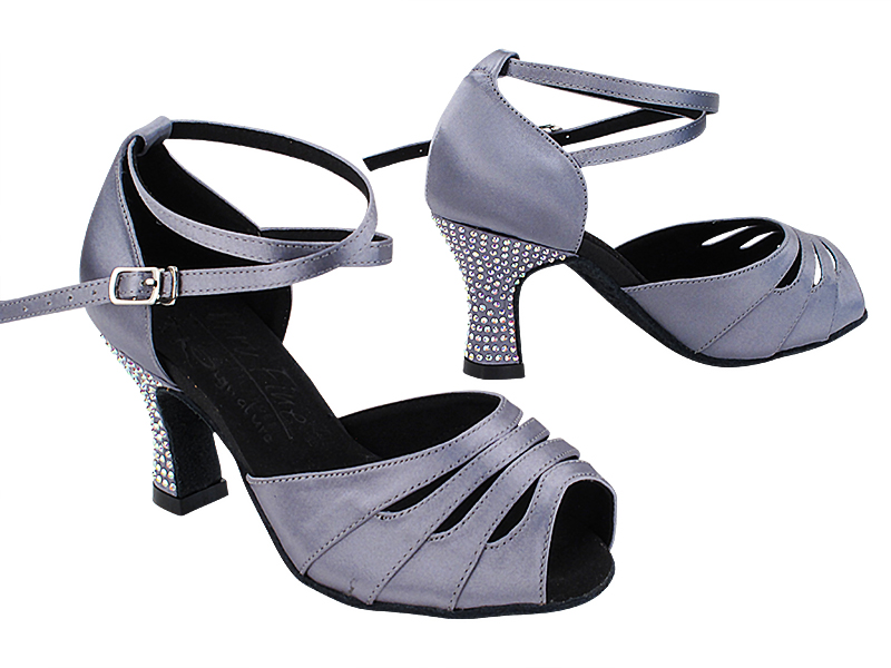 S1007CC 180 Grey Satin_X-Strap Ankle with Loop_Rhinestone on Heel Only