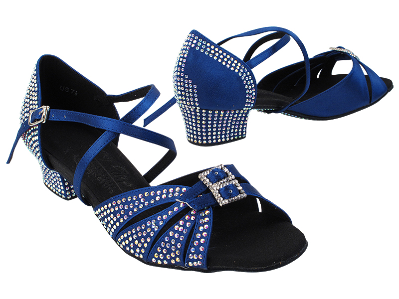 S92307CC 114 Dark Blue Satin with 1.5 inch Heel (Heel Code 200-222) in the photo