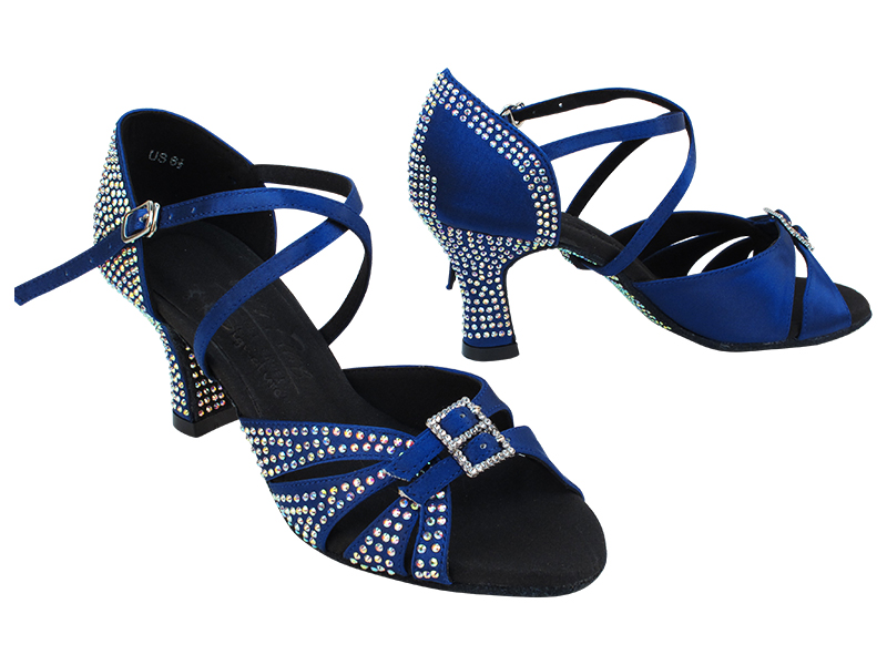 S92307CC Dark Blue Satin with 2.5 inch Heel (11046) in the photo