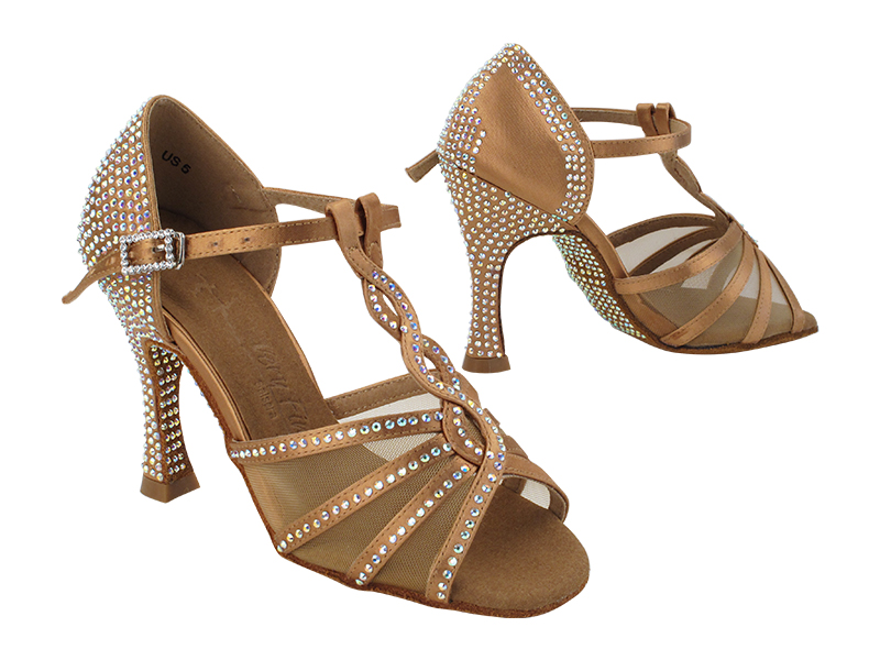SERA1692CC Tan Satin with (YTG) 3.5 inch Heel in the photo
