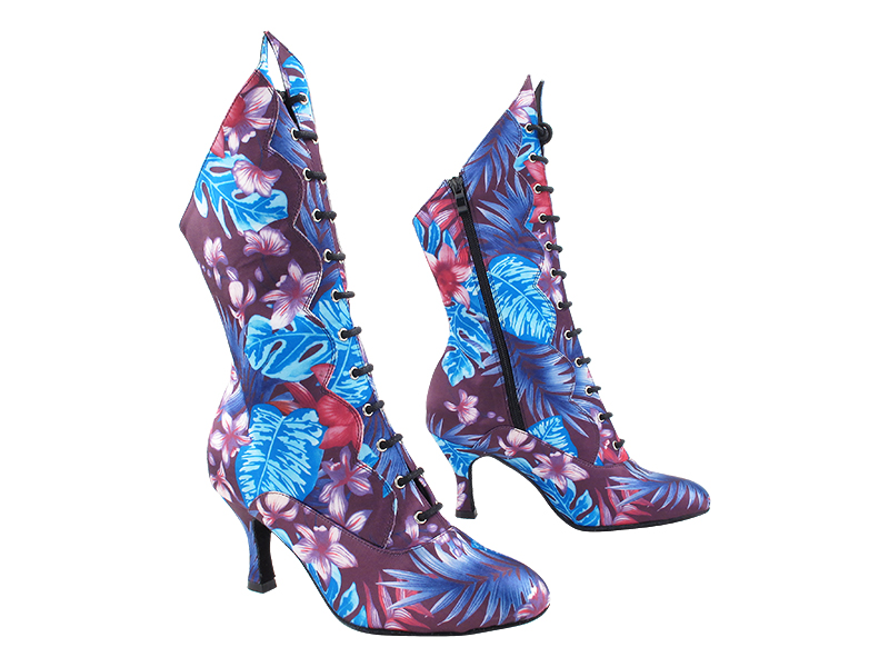 VFBoot SERACanCan 198 Blue_Purple Flower Satin with (YQG) 3 inch Heel in the photo