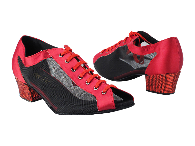 1643 268 Dark Red Satin_285 Red Scale_H_53 Black Mesh