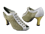 1643 White Leather & 196 Mesh & Gold Leather Heel