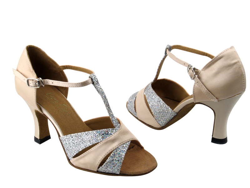 6016 Silver Sparklenet & Light Brown Satin