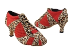 705LEDSS Leopard Satin_Red Knit Mesh