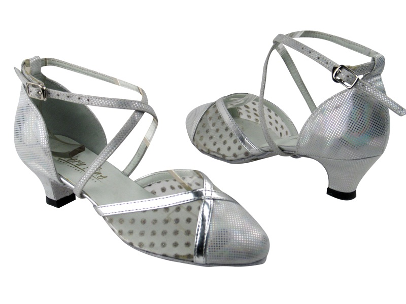9622 86 Silver Laser Satin_44 Mesh_Silver Leather Trim