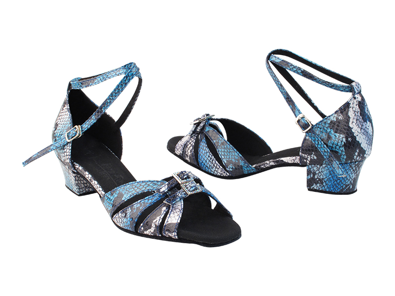 SERARhinestone1131 #268 Blue White Snake PU_X-Strap Ankle with loop