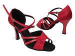 SERA6030 139 Dark Red Satin_264 Red Patent_H_X-Strap Arch