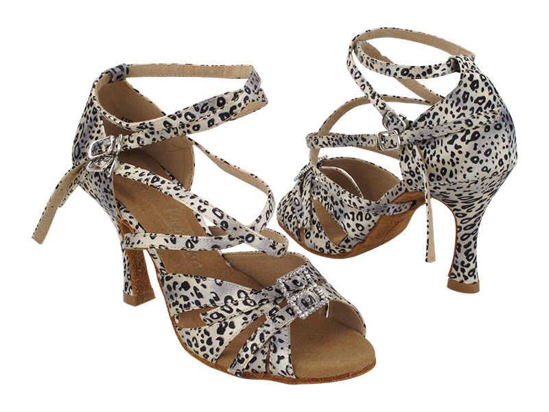 S92307 259 Snow Leopard Satin with Double X-Strap