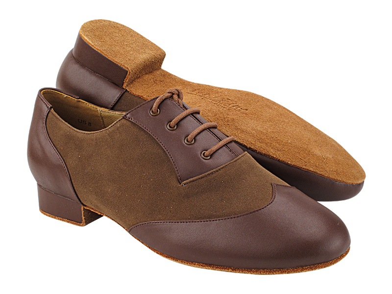 CM100101 305 Dark Tan Leather_F_B_273 Brown Nubuck_M with Men 1