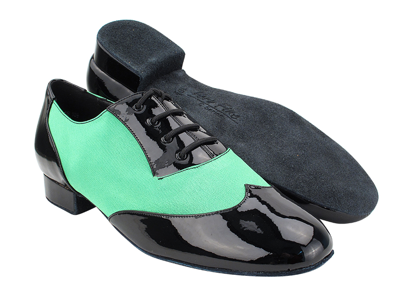 CM100101 Black Patent_138 Green Satin with 1