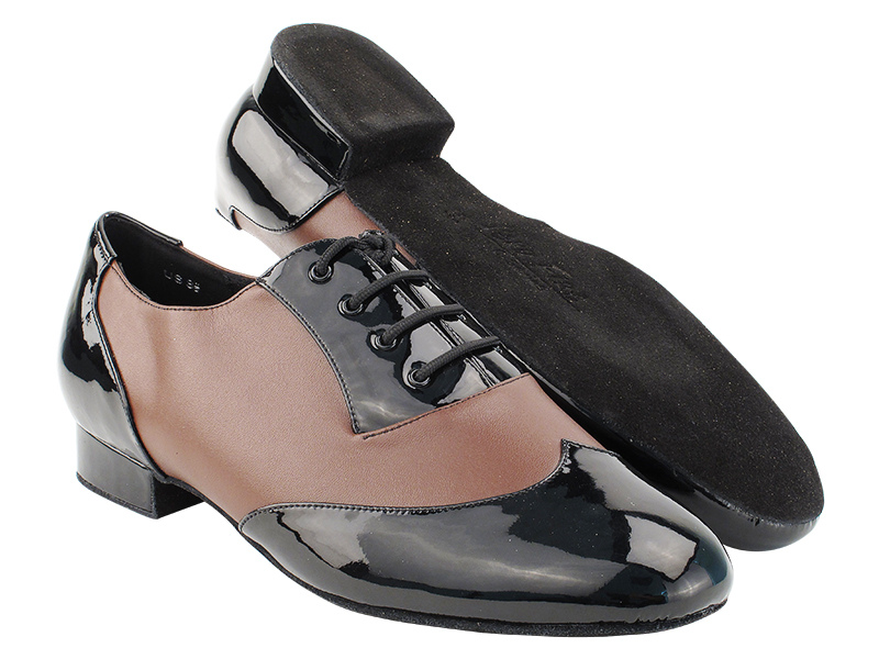 CM100101 Black Patent_B_F_305 Dark Tan Leather_M with Men 1
