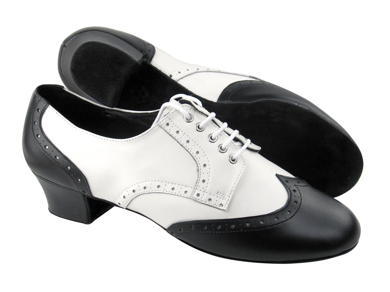 PP301 Black Leather & White Leather Latin Heel