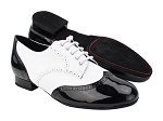 PP301DB Black Patent_White Leather