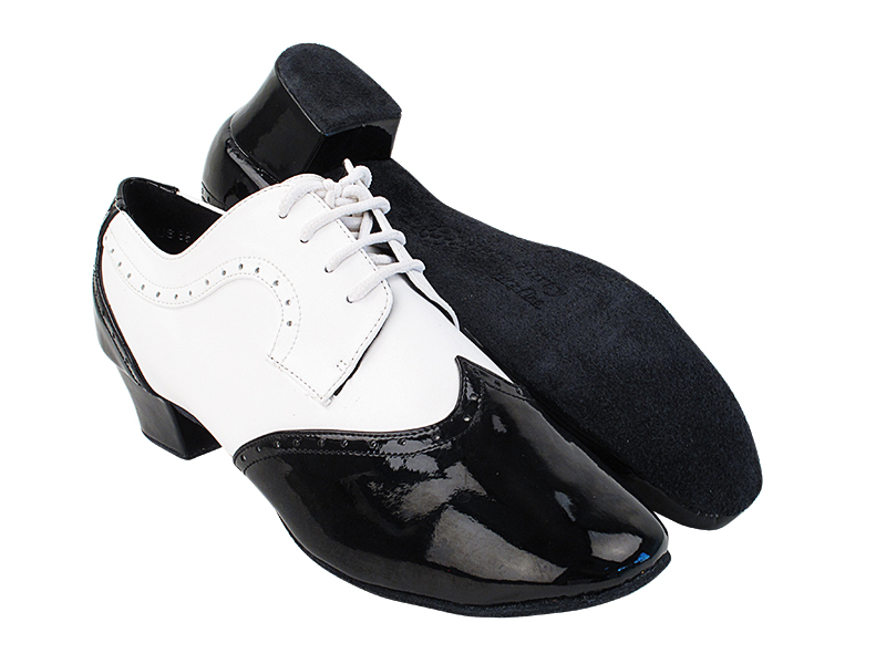 PP302 Black Patent_F_B_White Leather_M with 1.5