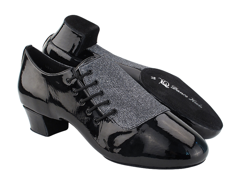 S2519 Black Patent)285 Black Glitter Satin with Men 1.5