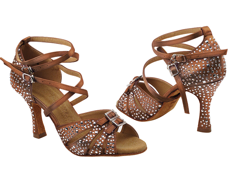S92307MSC 210 Dark Tan Satin with (YQG) 3 inch Heel in the photo