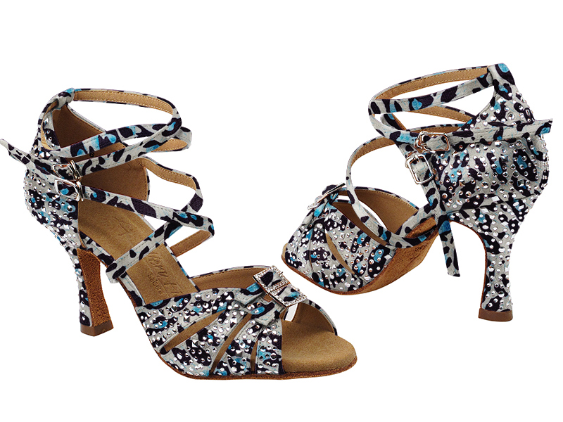 S92307MSC 260 Blue Leopard Satin with (YQG) 3 inch Heel in the photo