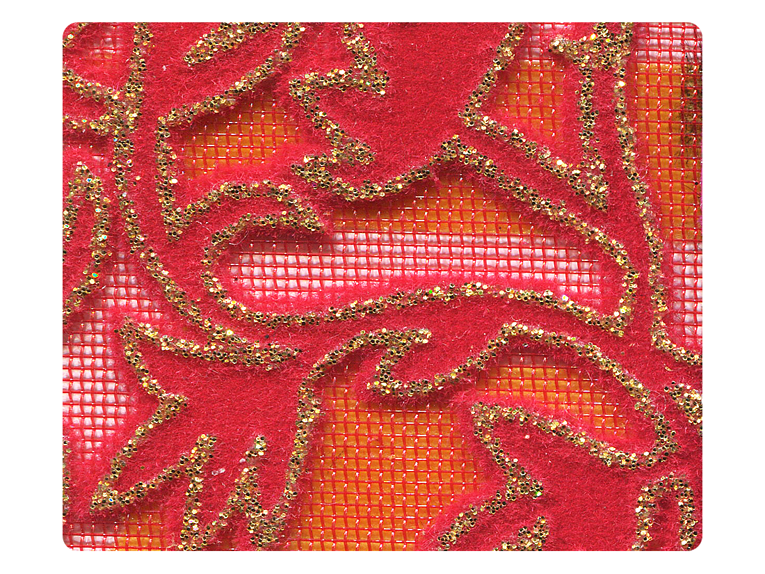 143 Gold Leaf Velvet Red Mesh Fabric Swatch
