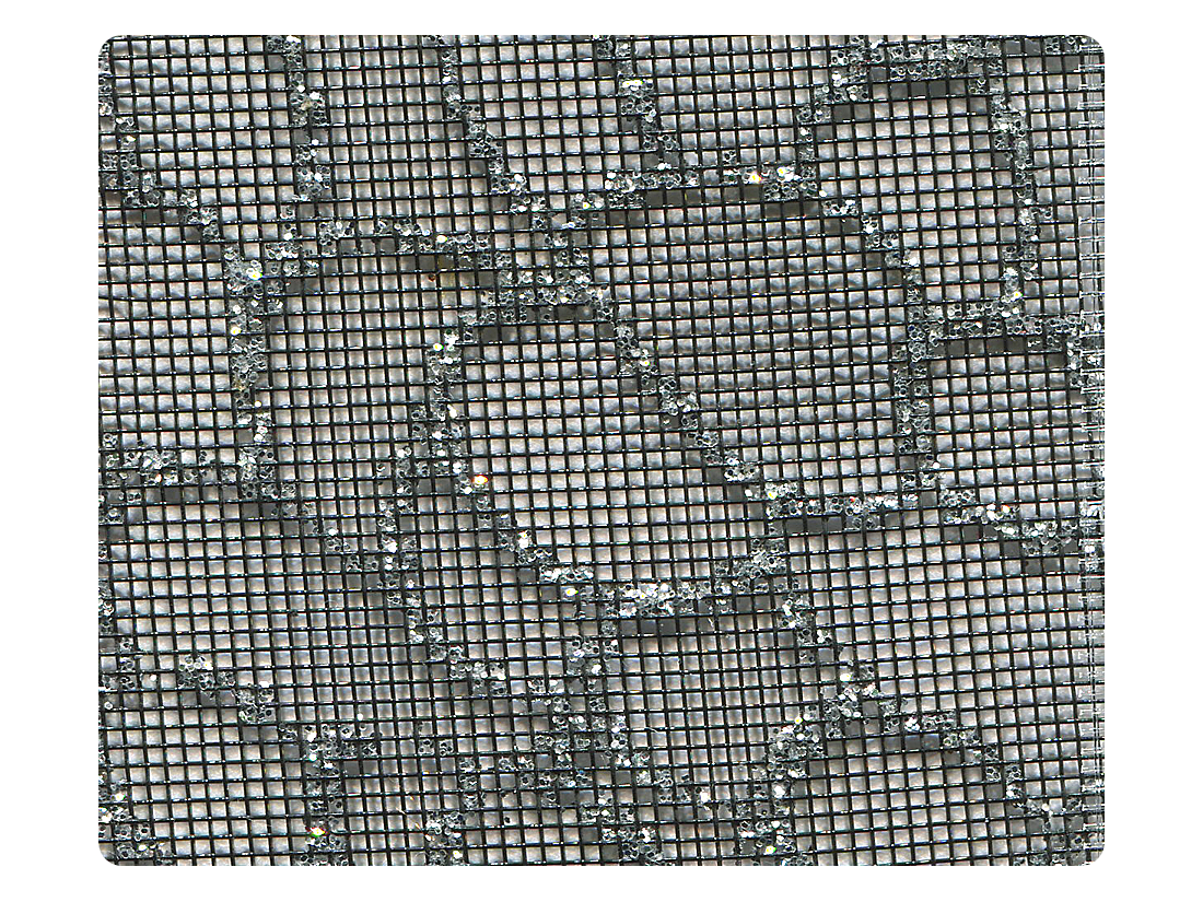 160 Silver Glitter Black Mesh Fabric Swatch