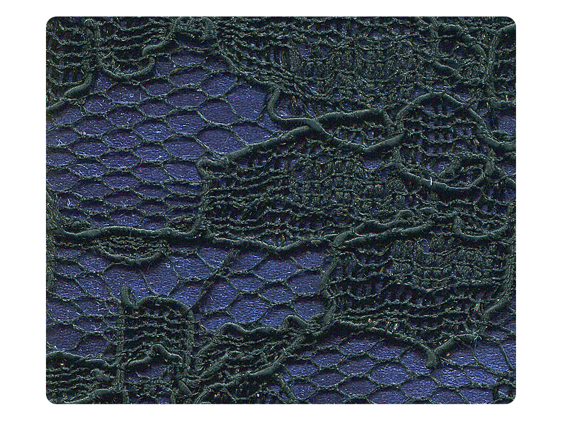 183 Black Lace Dark Blue PU Fabric Swatch