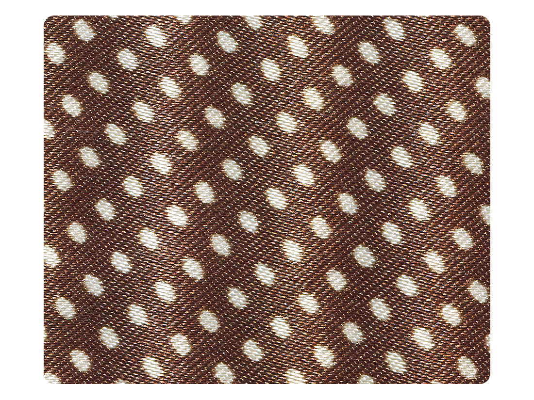 255 Coffee & White Dots Satin Fabric Swatch