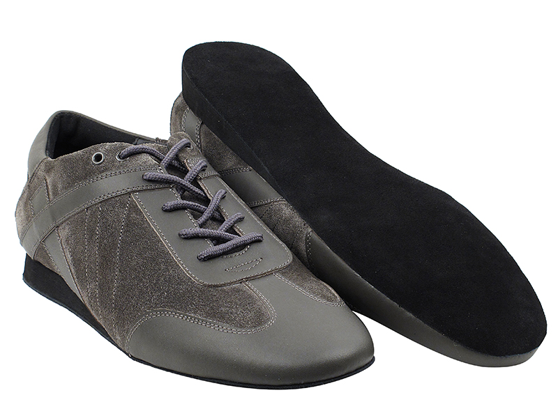 SERO106BBX Grey Leather_Grey Suede with flat heel in the photo