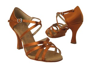 "C1606 Copper Tan Satin with 3"" Flare Heel in the photo"