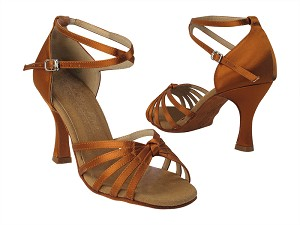 "C6005 Copper Tan Satin with 3"" Flare Heel in the photo"