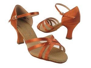 "C6027 Dark Tan Satin with 2.5"" Heel in the photo"