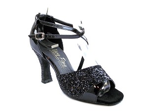 "1659 Black Sparkle (H) & Black Patent with 3"" Heel in the photo"