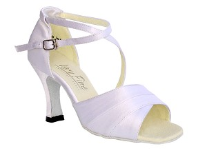 "1659 White Satin with 3"" Heel in the photo"