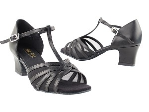 "16612 Black Leather & Black Mesh with 2"" Thick Cuban Heel in the photo"