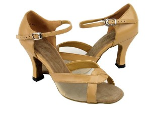 "1675 Beige Brown Leather & Flesh Mesh with 3"" Heel in the photo"