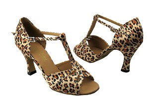"1703 Leopard Satin with 3"" Heel in the photo"