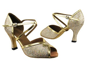 "2721 Gold Sparklenet & Gold Leather Trim with 3"" Heel in the photo"