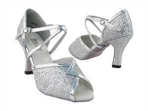 "2721 Silver Sparklenet & Silver Leather Trim with 3"" Heel in the photo"