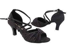 "2830LEDSS Black Satin with 2.5"" low heel in the photo"