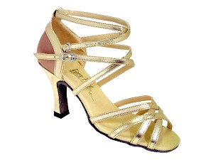 "5008Mirage Gold Leather & Brown Satin with 3"" Heel in the photo"