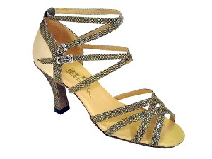 "5008Mirage Gold Scale & Gold Leather with 3"" Heel in the photo"